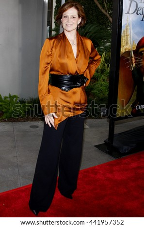 Sigourney Weaver at the World premiere of 'The Tale of Despereaux' held at the ArcLight Theater in Hollywood, USA on December 7, 2008. - stock photo