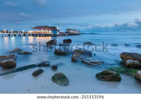 Sihanoukville beach after sunset, popular resort in Cambodia. - stock photo
