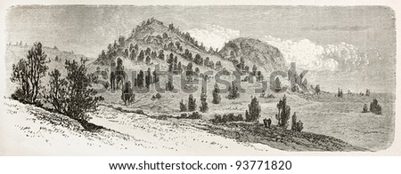 Sikarna old view, Nubia. Created by Ciceri after Lejean, published on Le Tour du Monde, Paris, 1867 - stock photo