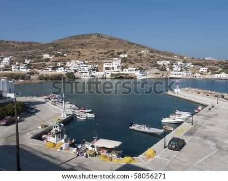 Sikinos Fishing Port, Cyclades, Greece - stock photo