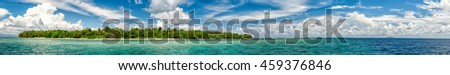 Siladen turquoise tropical paradise island in Indonesia landscape panorama - stock photo