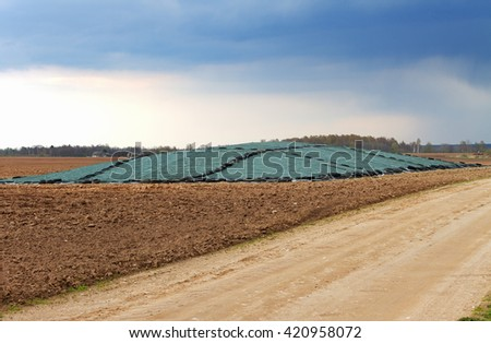 Silage food on a field, agriculture. - stock photo