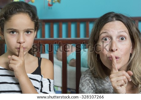 Silence baby sleep - stock photo