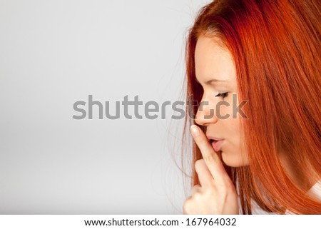 Silencing girl with space for text.