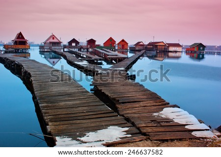 Silent sunset over lake - stock photo