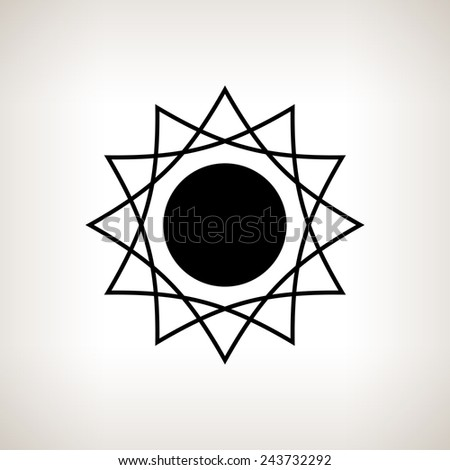Silhouette abstract sun  on a light background , black and white  illustration - stock photo