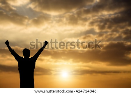 silhouette achievements successful arm up man is celebrating success with sunrise