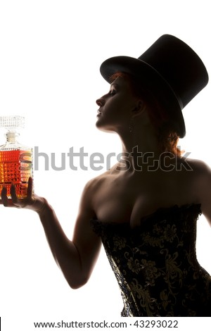 silhouette back light picture of sexy woman with bottle