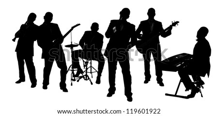 silhouette Band playing isolated on white - stock photo
