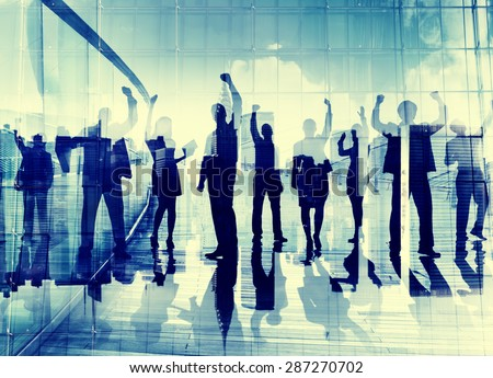 Silhouette Business People Corporate Connection Celebration Happiness Concept - stock photo