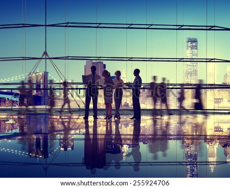 Silhouette Business People Corporate Connection Discussion Meeting Concept - stock photo