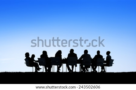 Silhouette Business People Discussion Communication Meeting Concept - stock photo