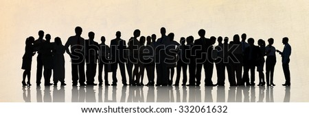 Silhouette Business People Meeting Corporate Discussion Concept - stock photo