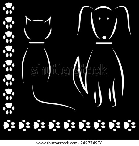 Silhouette cat dog footprints - stock photo