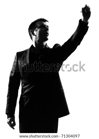 silhouette caucasian business man  expressing behavior full length on studio isolated white background - stock photo