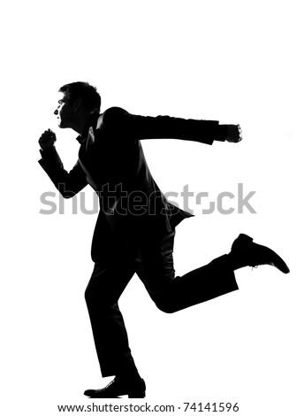 silhouette caucasian business man  running profile   full length on studio isolated white background - stock photo