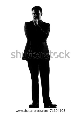 silhouette caucasian business man   thinking pensive expressing behavior full length on studio isolated white background - stock photo