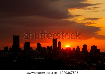 Silhouette City Sunset, Urban landscape