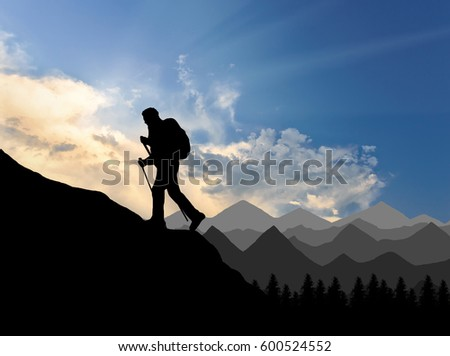 Silhouette climber ascending to the top of mountain. Concept power and motivation