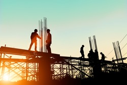 Silhouette Construction Industry Engineer Standing Orders For Worker Team To Work Safety On High Ground Over