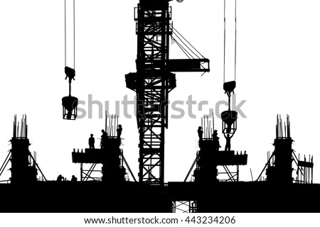 Silhouette Construction with workers on isolate background - stock photo