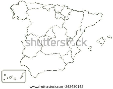 Silhouette contour border map of the Spain  - stock photo