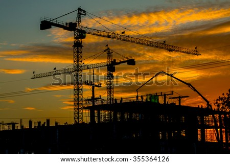 Silhouette Crane on Sunset Udonthani in Thailand