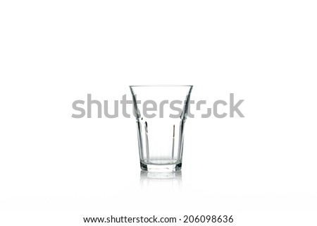 silhouette crystal glass isolated on white background - stock photo