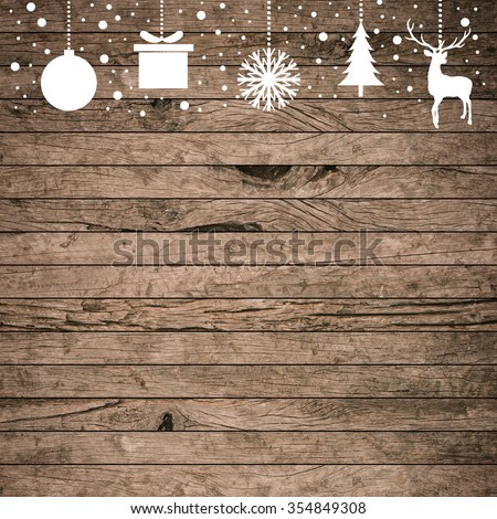 Silhouette Dangle White Reindeertreeballsnowflakegift On Rustic Wood Tile