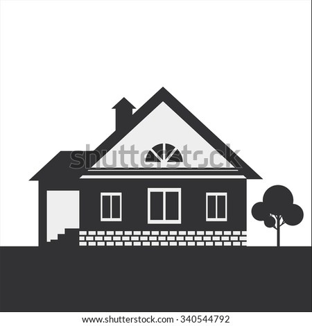 Silhouette drawing of a country house. Dark figure on a light background. - stock photo