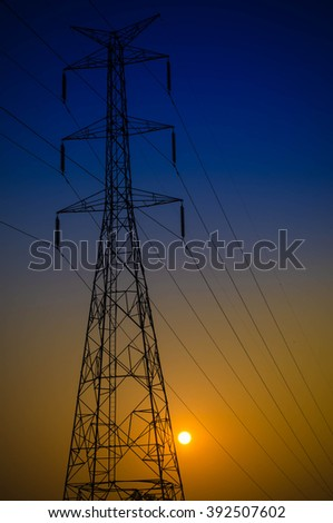 silhouette electrical Power transmission towers sunset backgrounds