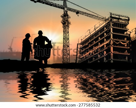silhouette engineer looking at blueprint over Blurred construction worker on construction site riverside locations - stock photo