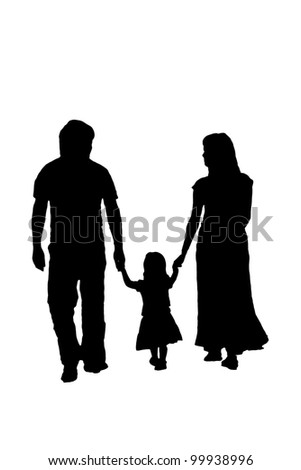 Silhouette family, woman, man, baby girl. Loving people holding hands - stock photo