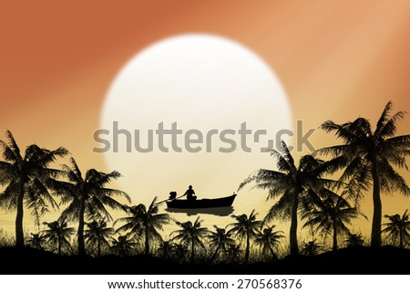 Silhouette fishing boat at sea sunset background. - stock photo