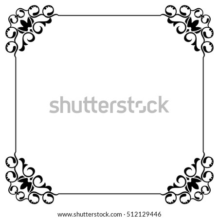 silhouette frame abstract black and white ornament with decorative flowers copy space raster - Decorative Picture Frames
