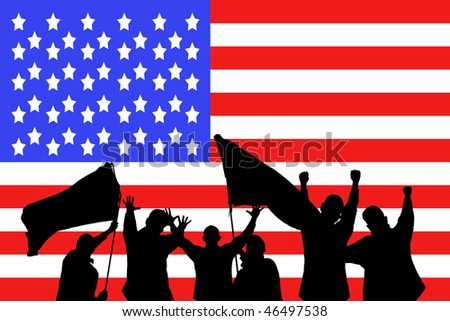 Silhouette from some sport fans in front of the flag from the United States of America