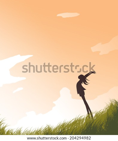 Silhouette Girl in the Field and the Evening Sky - stock photo