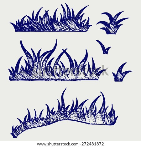 Silhouette grass. Doodle style. Raster version - stock photo