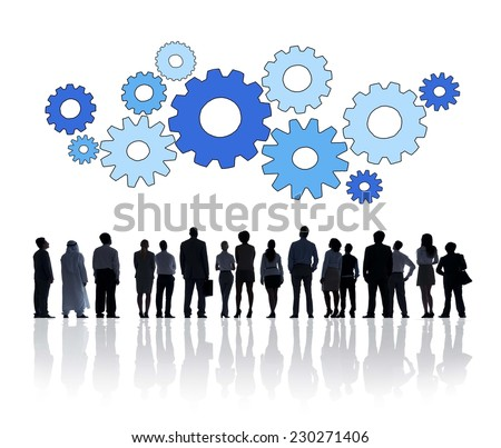 Silhouette Group Of Business People with Gears