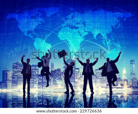 Silhouette Group of Global Business People Celebration Concept - stock photo