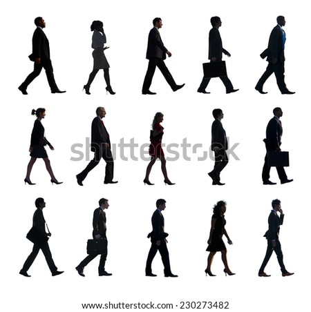 Silhouette Group of People in a Row