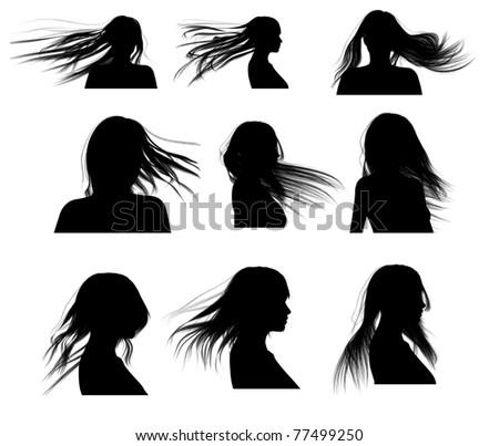 Silhouette Hair Woman - stock photo