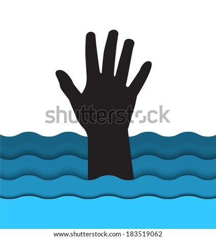 silhouette hand drowning man sticking out of the water  - stock photo
