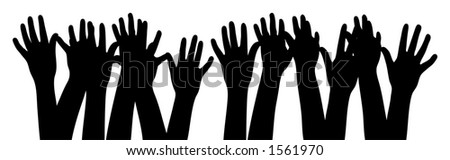 Silhouette hands - stock photo