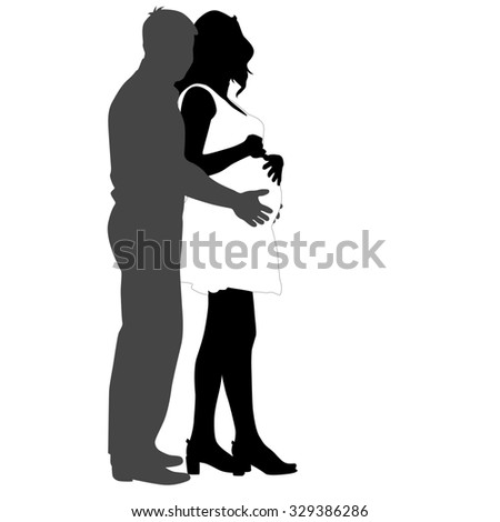 Silhouette Happy pregnant woman and her husband. illustration. - stock photo