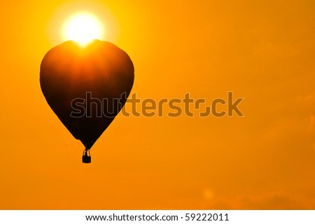 silhouette hot air balloon. it is good for desktop background - stock photo