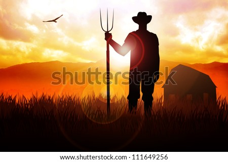 Silhouette illustration of a farmer holding a pitchfork