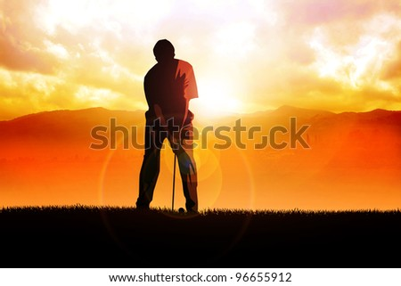 Silhouette illustration of a golfer - stock photo