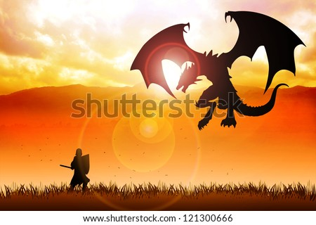 Silhouette illustration of a knight fighting a dragon - stock photo