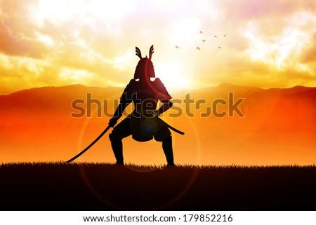 Silhouette illustration of a samurai general - stock photo